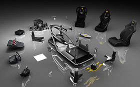 Vesaro Modular Design, Cobra Seats, Buttkicker Advance BKA300, D-Box Motion Physics System, Logitech Z906, Thrustmaster T500RS, Fanatec